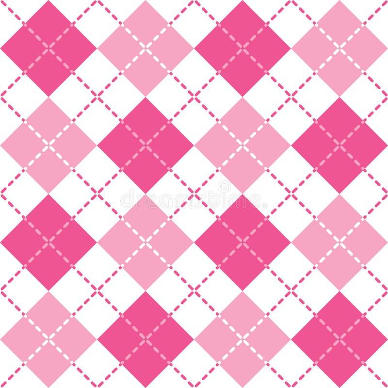Argyle Pattern en rosa y blanco estrallados stock de ilustración