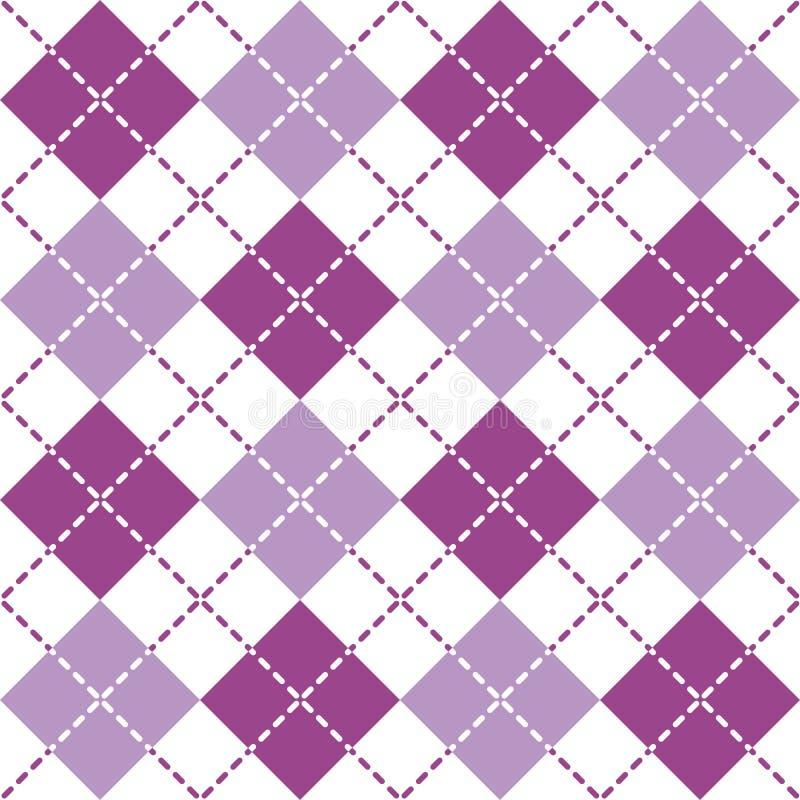 Argyle Pattern estrallado en púrpura y blanco ilustración del vector