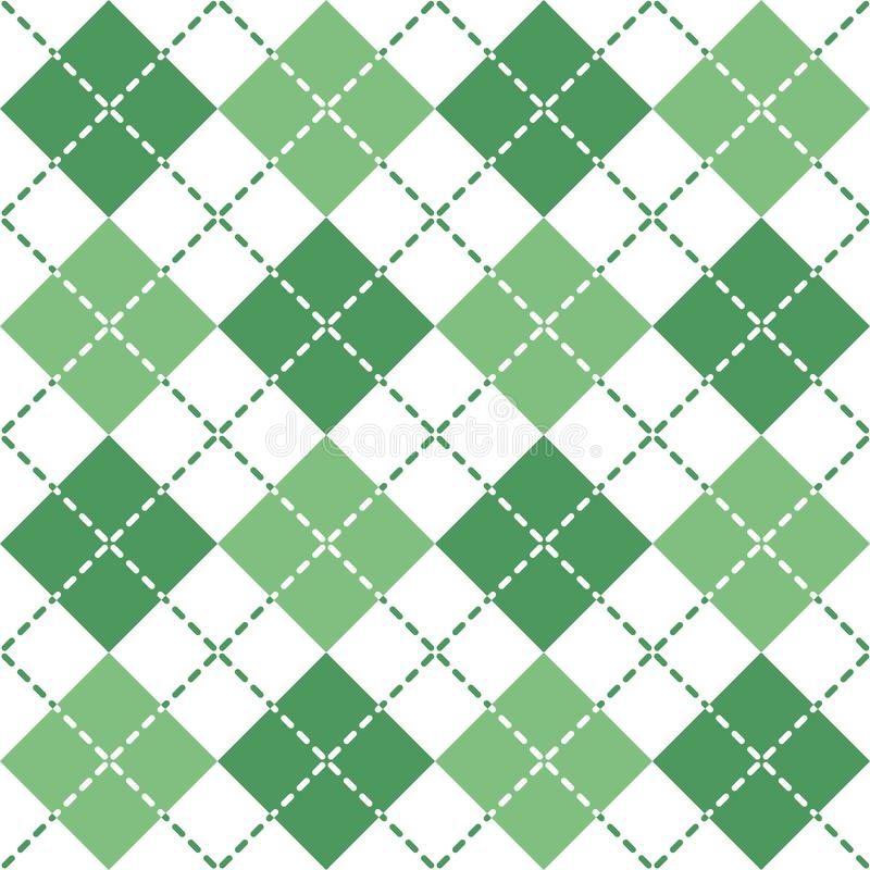 Argyle Pattern estrallado en verde y blanco ilustración del vector