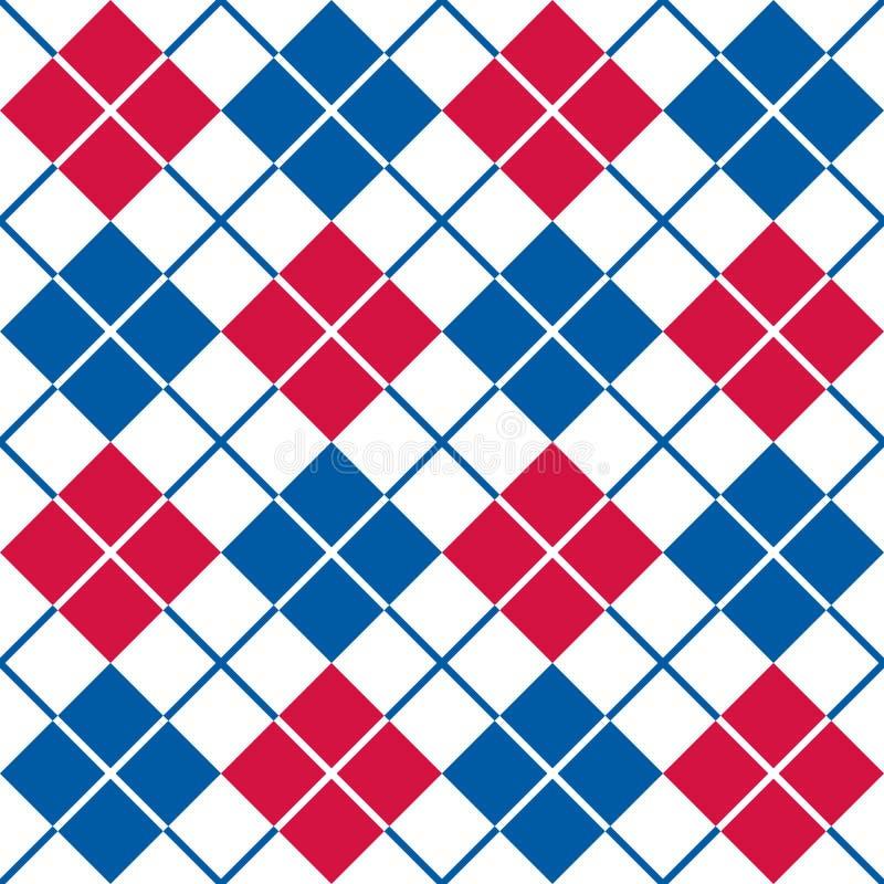 Argyle Pattern patriótico en rojo, blanco y azul stock de ilustración