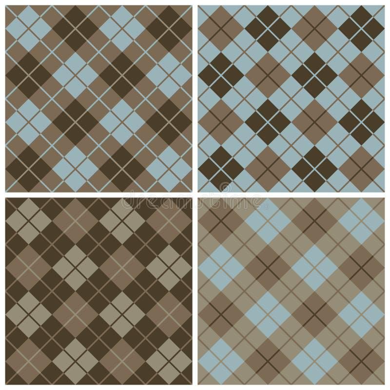 Argyle-Plaid Muster im Blau und im Braun lizenzfreie abbildung