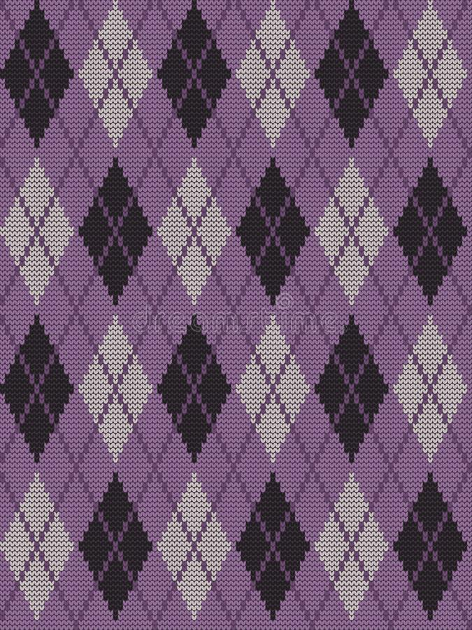 Argyle print in purple, black and gray colors. Seamless knitted pattern with rhombuses. Argyle print in purple, black and gray colors. Checkered background stock illustration