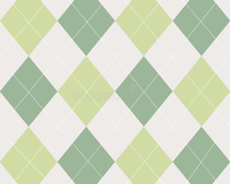 Argyle tan e bianco di verde, illustrazione vettoriale
