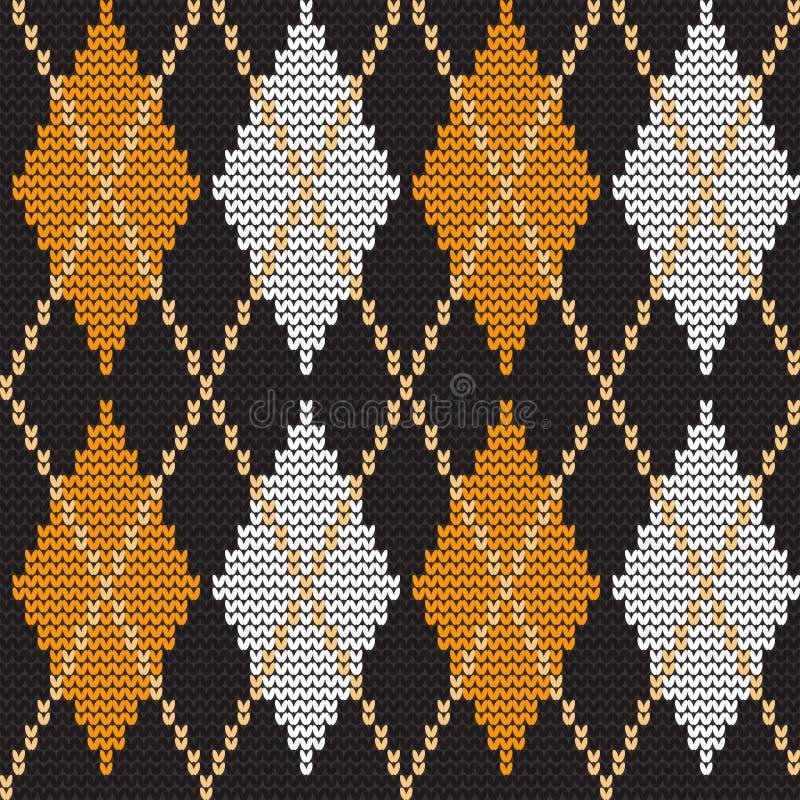 Argyledruk Gebreid patroon met ruiten stock illustratie