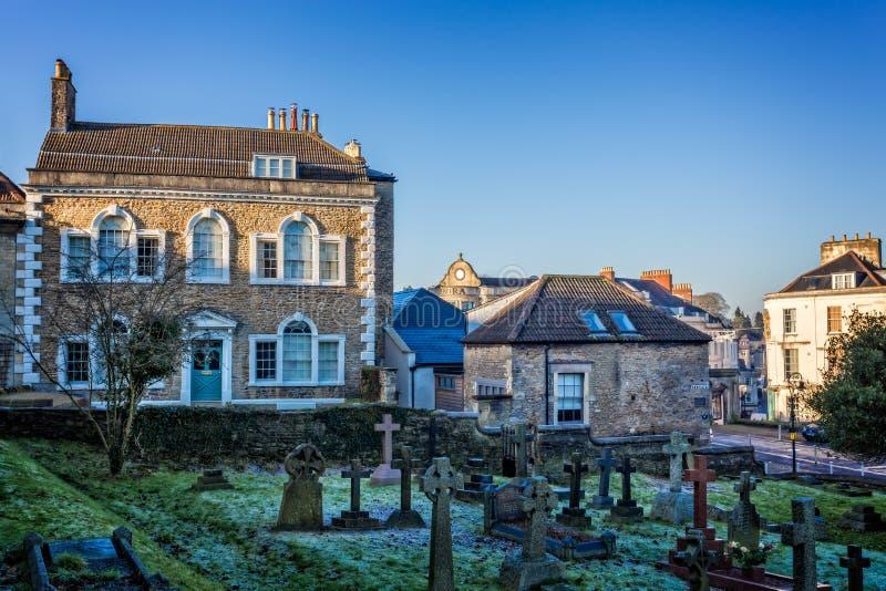 Argyllhuis en St Johns kerkbegraafplaats in Frome, Somerset stock afbeeldingen