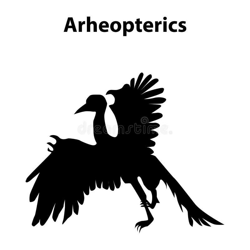 Arheopterics dinosauriekontur vektor illustrationer