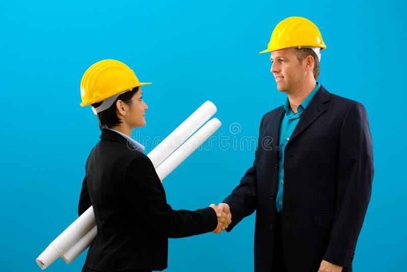 Arhitects, das Hände rüttelt stockbilder