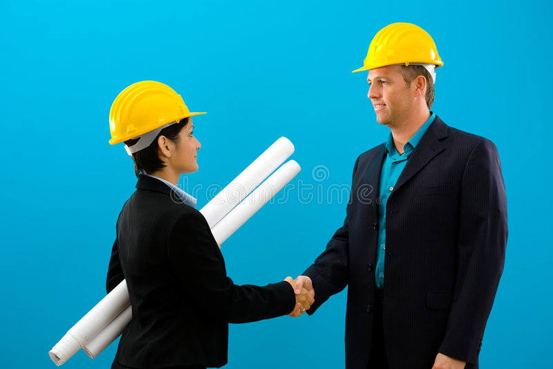 arhitects hands shaking στοκ εικόνες