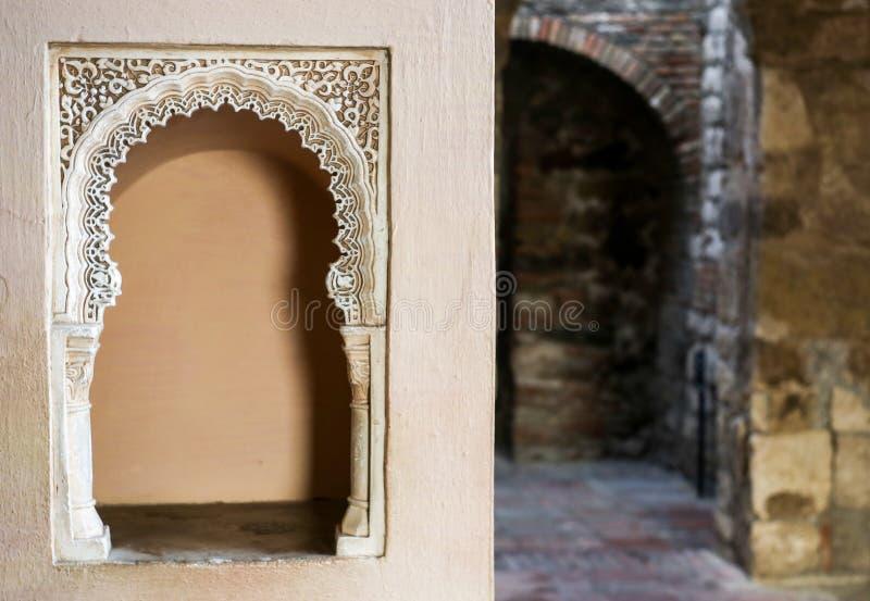 Arhitecture интерьера Alcazaba стоковые фотографии rf