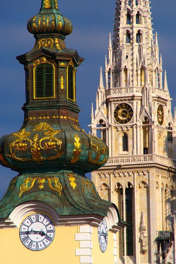 Arhitecture barroco y gótico, Zagreb, Croacia fotografía de archivo libre de regalías