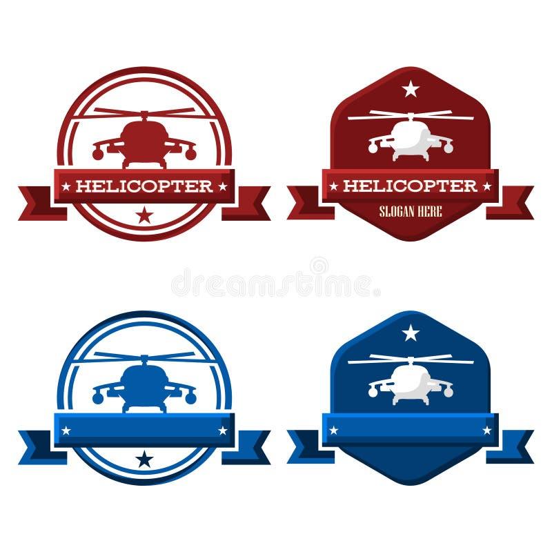 Aria Chopper Flight dell'elicottero nel cerchio e nell'esagono Logo Template royalty illustrazione gratis