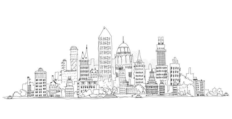 Aria del negocio de la ciudad, Londres, ejemplo de la colección del bosquejo ilustración del vector