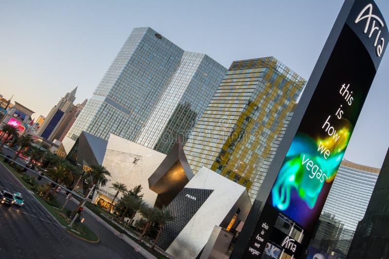Aria Hotel, Las Vegas Blvd stockfotos