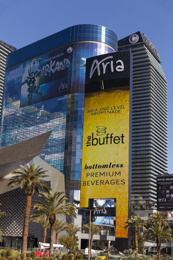 Aria Hotel Sign in Las Vegas, NV op 19 April, 2013 royalty-vrije stock fotografie