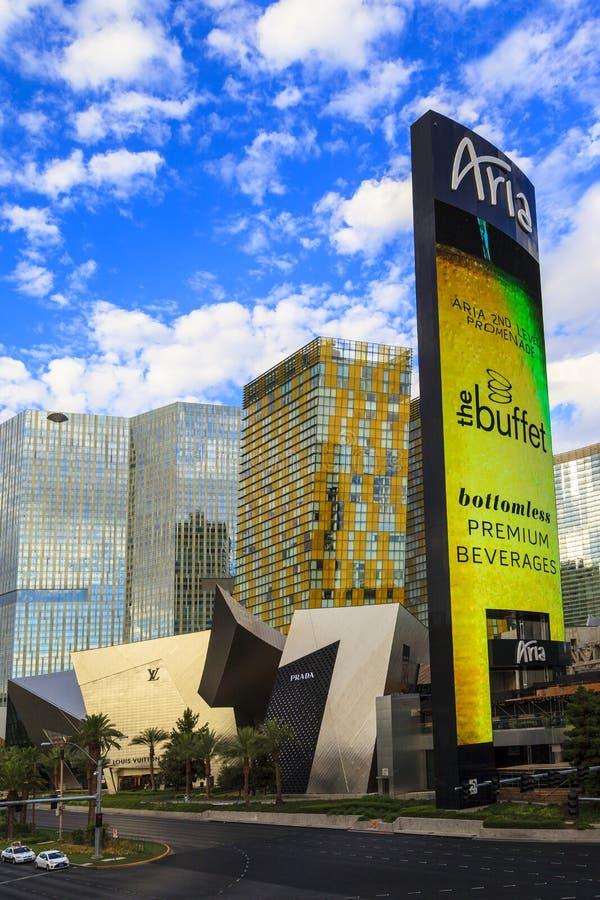 Aria Hotels op Stadscentrum in Las Vegas royalty-vrije stock foto