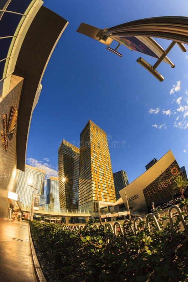 Aria Hotels op Stadscentrum in Las Vegas royalty-vrije stock foto's
