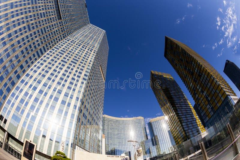 Aria Hotels op Stadscentrum in Las Vegas stock fotografie
