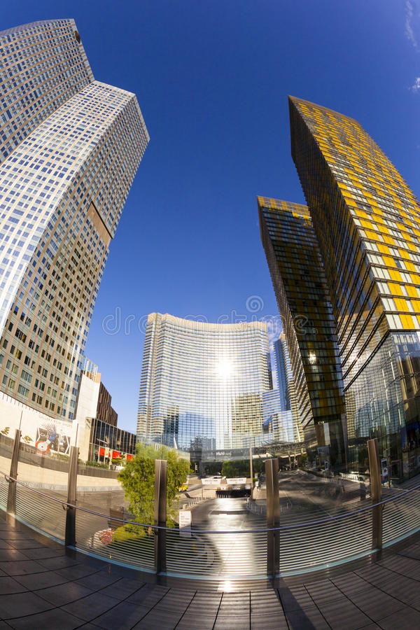 Aria Hotels op Stadscentrum in Las Vegas royalty-vrije stock fotografie