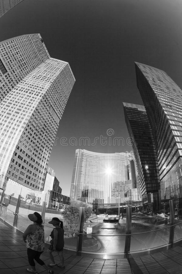 Aria Hotels op Stadscentrum in Las Vegas stock afbeelding
