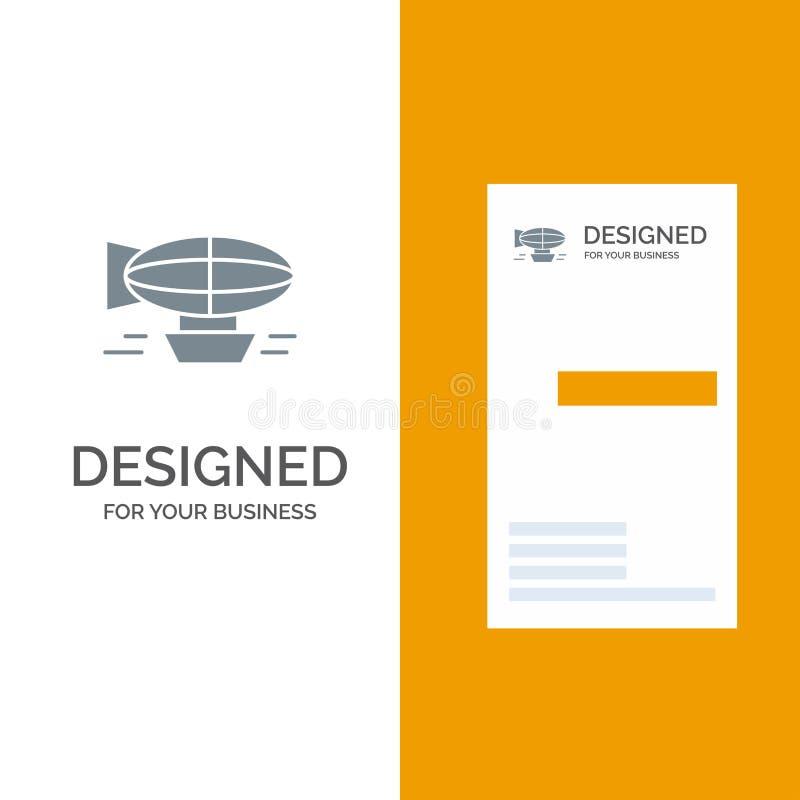 Aria, pallone, pallone, riempito, festa, viaggio Grey Logo Design e modello del biglietto da visita illustrazione vettoriale