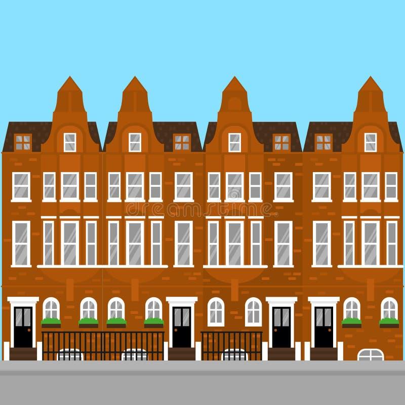 Aria résidentielle de Kensington et de Chelsea Immobiliers de luxe plats à Londres Bâtiments guidés de la Grande-Bretagne de poin illustration stock