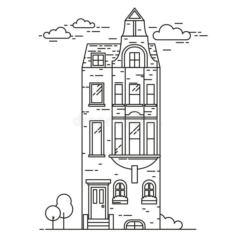 Aria résidentielle de Kensington et de Chelsea Ligne propriété de luxe Londres Point de repère et bâtiments guidés de la Grande-B illustration libre de droits