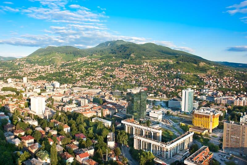 Arial arkitektur Sarajevo arkivbilder