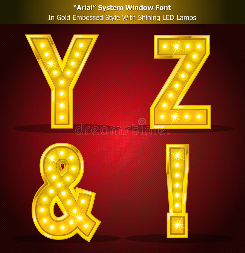 Download Arial Font In Gold Style With Shining LED Lamps Royalty Free Stock Photography - Image: 20105897