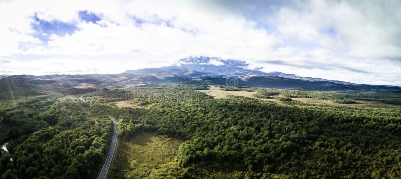 Panoramic view of Tongariro national park in New Zealand stock image