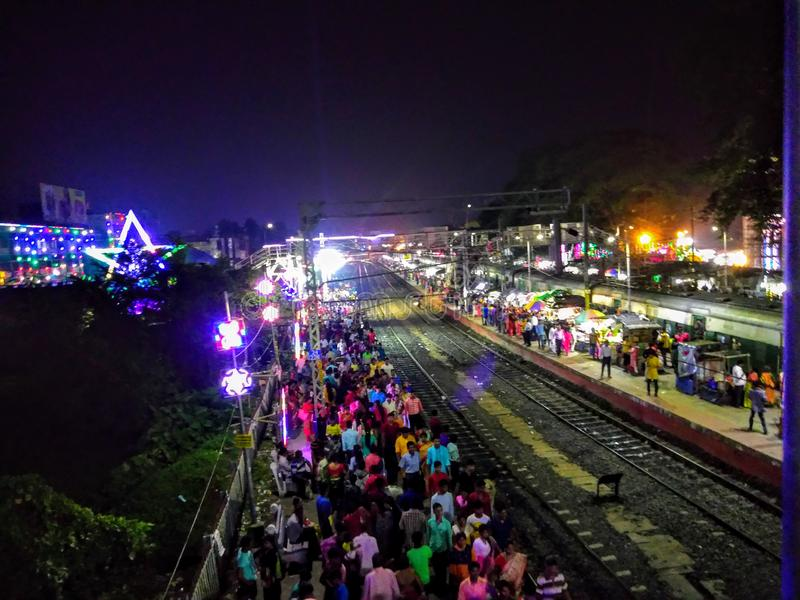 Arial Shot of Baruipur Railway Station on the Occasion of Durga Puja at Night. royalty free stock photography