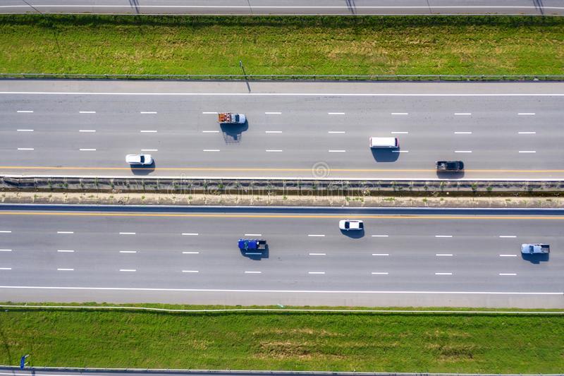 Arial view of Modern transportation with Expressway Road  highway Top view. Important infrastructure.  stock images