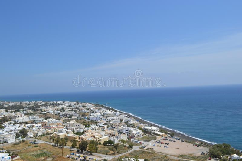 Arial View of Santorinis city. Blue sky and ocean. Greece, Europe royalty free stock photo