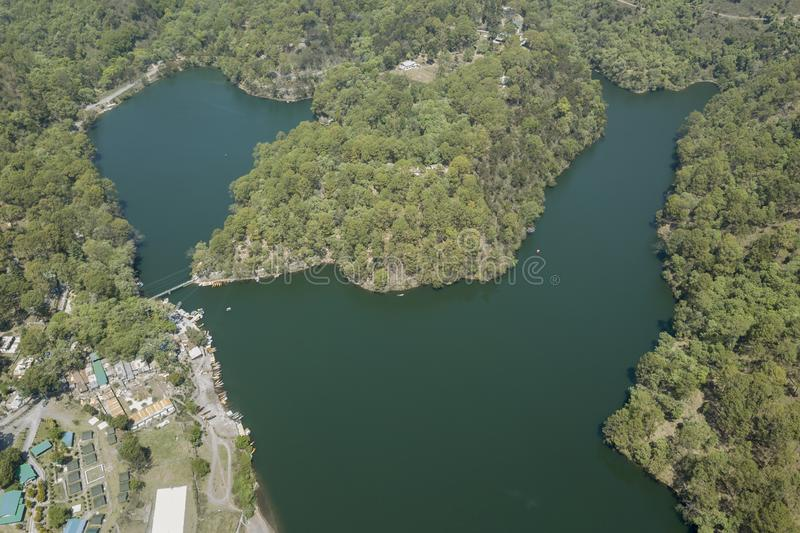 Arial View of Sattal lake in Uttarakhand,India. Asia royalty free stock images