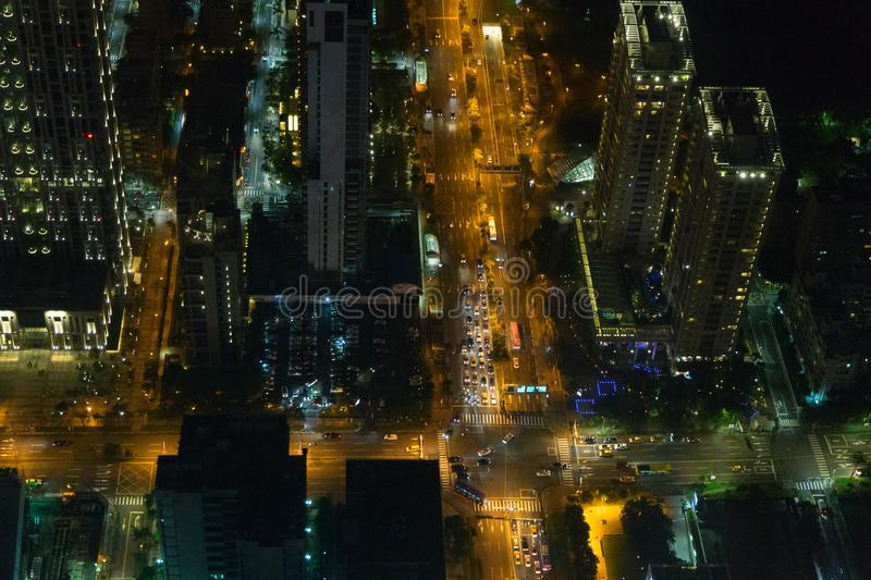 Arial view of Taipei`s city streets at night. Visible noise due to high ISO and wide aperture stock images