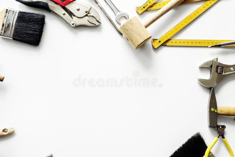 Arial widok narzędzia na stole zdjęcie royalty free
