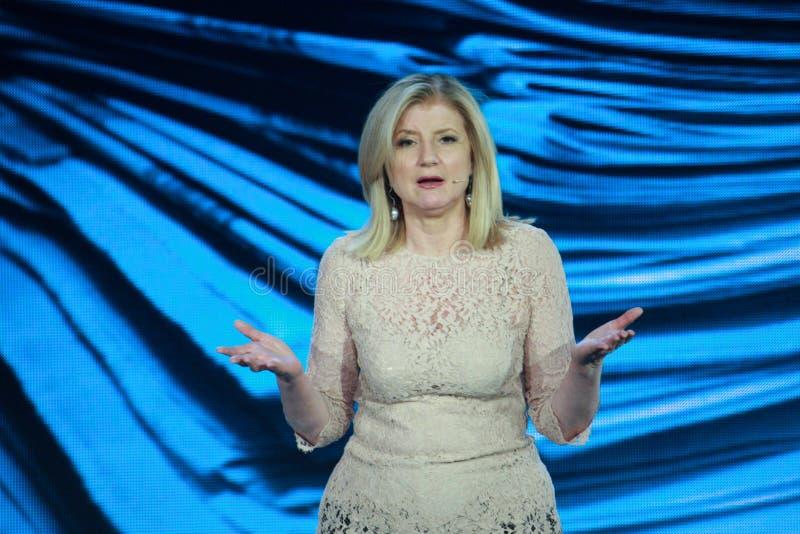 Arianna Huffington a convergenza di Microsoft immagine stock libera da diritti