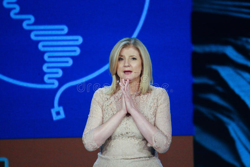 Arianna Huffington an Microsoft-Konvergenz stockfotografie