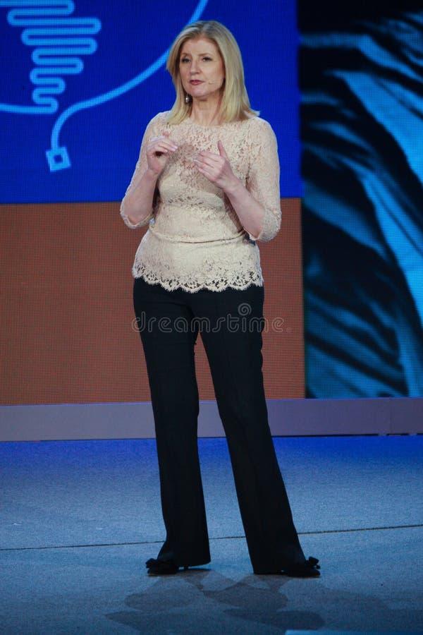 Arianna Huffington na convergência de Microsoft imagens de stock royalty free