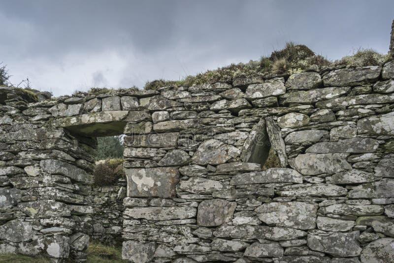 Arichonanruïnes in Knapdale in Schotland stock foto's