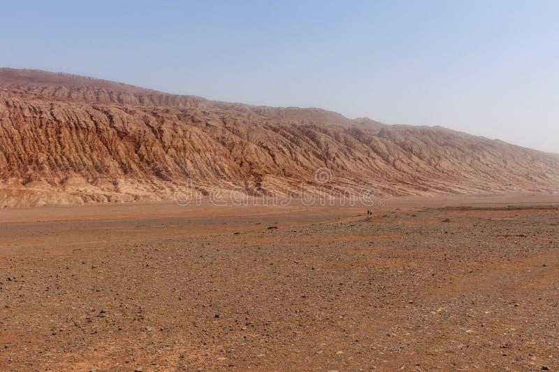 The arid landscape at the Flaming Mountains near the city of Turpan, Xinjiang. China royalty free stock photography