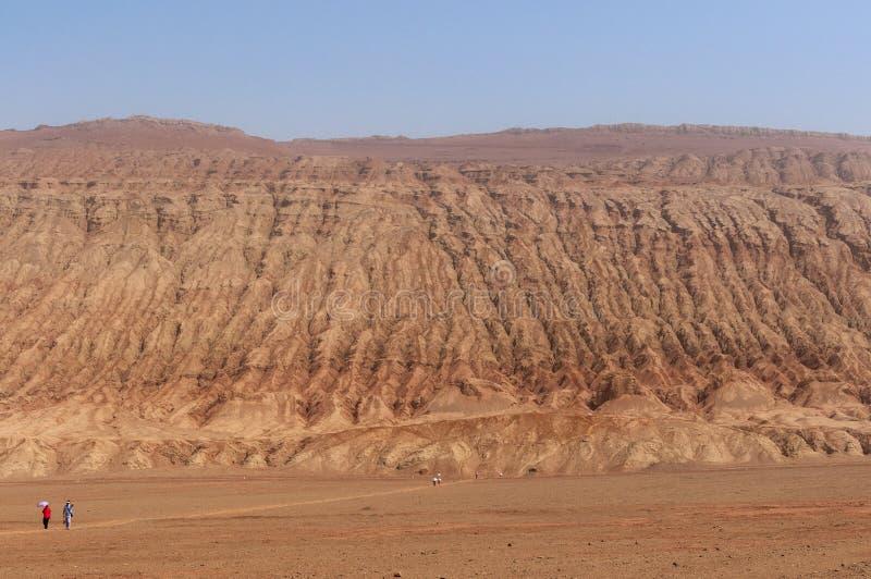 The arid landscape at the Flaming Mountains near the city of Turpan, Xinjiang. China stock photos