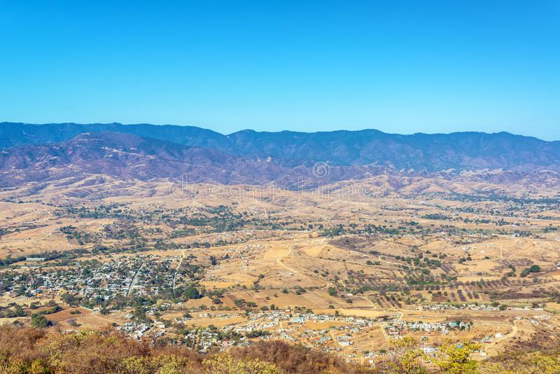 Arid Landscape in Mexico. Dry arid landscape and hills in Oaxaca, Mexico stock photography