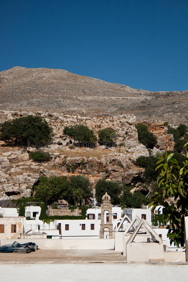 Download Arid lanscape in Lindos stock photo. Image of arid, white - 18252052