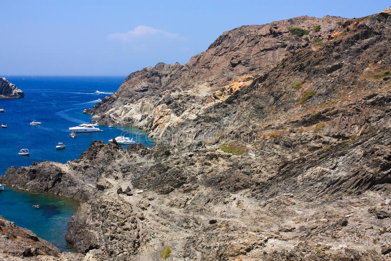 Arid Mediterranean and sea, Costa Brava royalty free stock photography