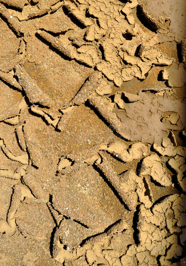 Arid soil. Aridity is a climatic phenomenon involving low rainfall. In the arid or dry regions, precipitation is lower than potential evapotranspiration noted as royalty free stock photo