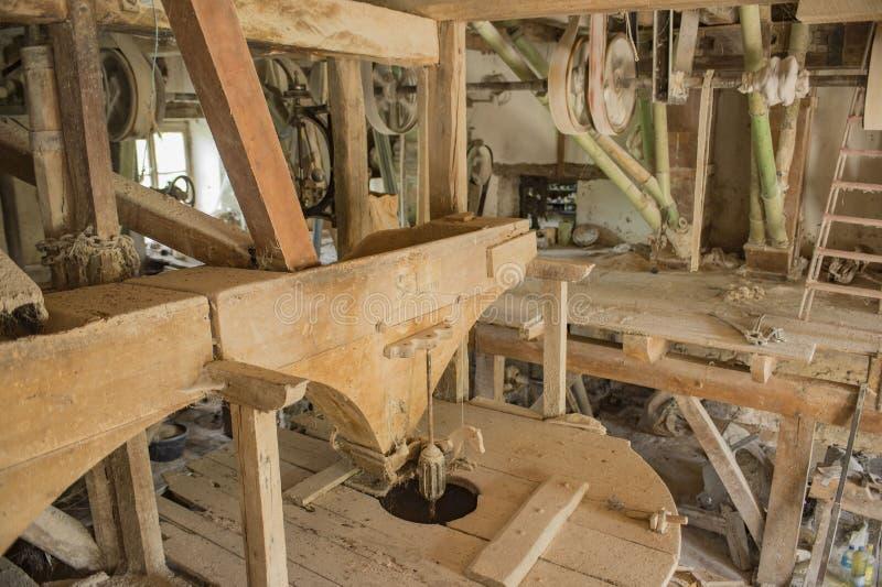 Ariege Γαλλία 2015 Παραδοσιακός κυκλικός ξύλινος εξοπλισμός μύλων αλευριού, στοκ εικόνα
