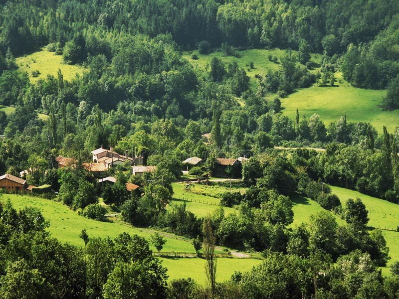 Ariege. Davidmartyn, agriculture, countryside, cropland, daytime, farm, hill, house, landscape, mountain, nobody, outdoors, travel, tree, valley, village, meadow royalty free stock images
