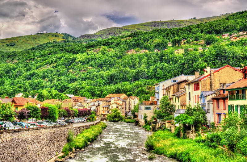 The Ariege river in Ax-les-Thermes - France. Midi-Pyrenees stock image