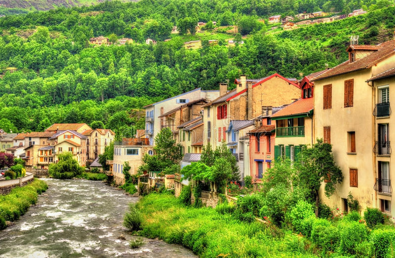 The Ariege river in Ax-les-Thermes - France. Midi-Pyrenees royalty free stock image