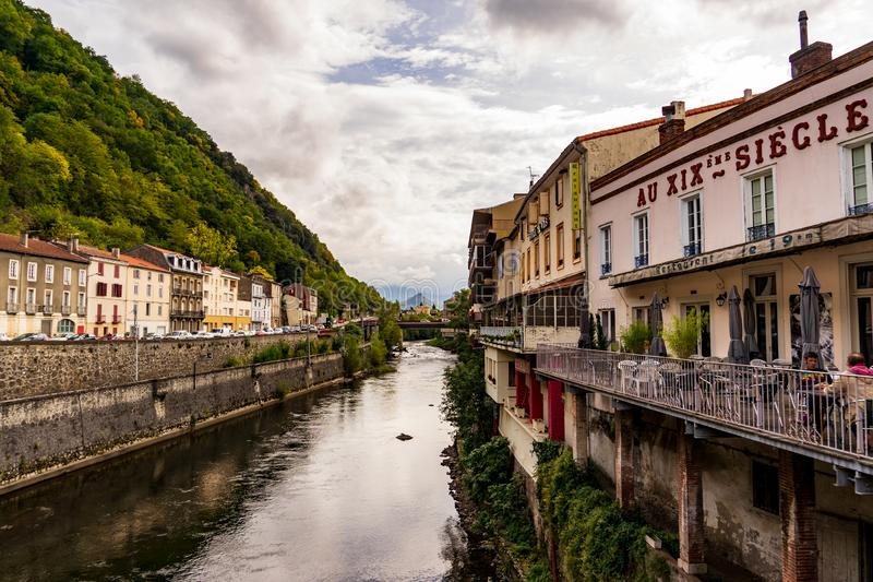 Ariege River at Foix cut the historic quarter in two royalty free stock image